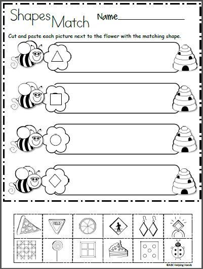 Free 2D Shapes Math Worksheet for Kindergarten