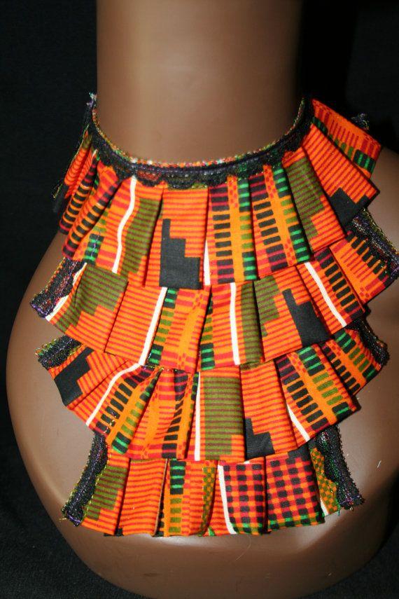 African FABRIC BIB NECKLACE /kente /wedding / by Illusionsofafrica, $23.99
