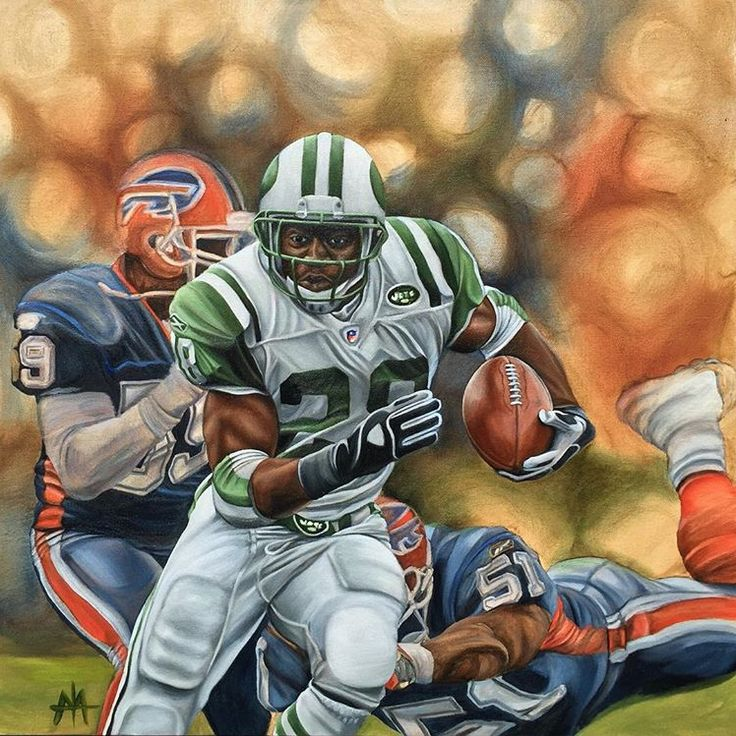 Curtis Martin, NY Jets, 24x24 oil on canvas by Aaron Tyler Atwood.