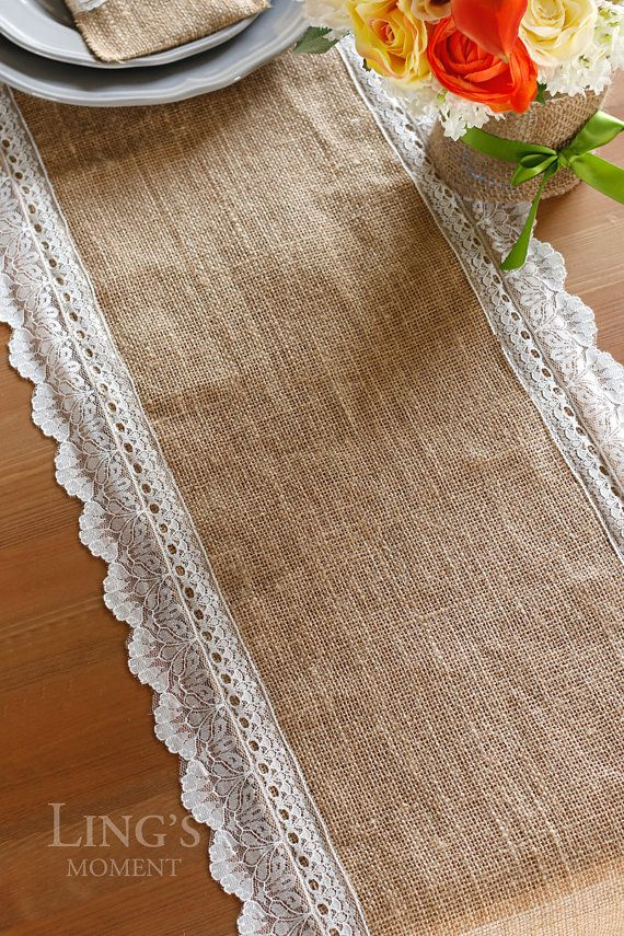 This vintage table runner is made of natural hessian and victorian off white lace edges on all sides. It is beautiful and give a Victorian touch to