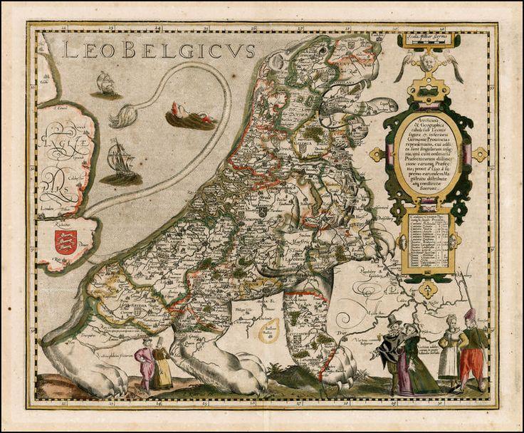 Leo Belgicus -  VAN DEN KEERE, Pieter.  Amsterdam, 1617. Colored engraving. Van der Heijden, Leo Belgicus 4.2.