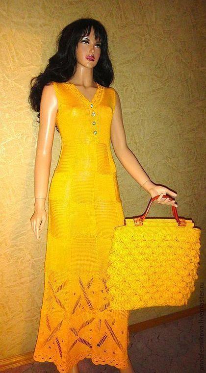Платья ручной работы. Ярмарка Мастеров - ручная работа. Купить Желтый сарафан. Handmade. Вязаное платье, платье коктейльное