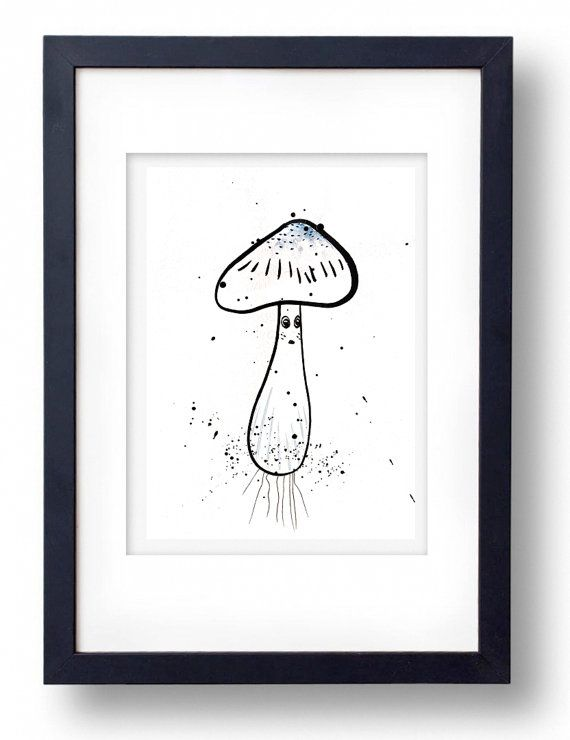 Original Cute Mushroom ink on paper by TinyLabShop on Etsy