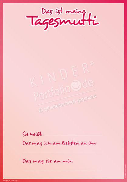 """Kindergarten Portfolio Vorlage """"Das ist meine Tagesmutti"""""""