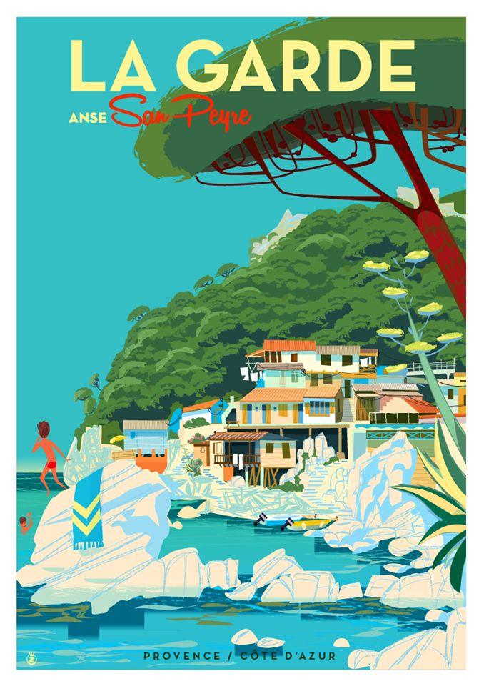 Travel Poster - La Garde - Provence - Côte d'Azur - by Richard Zielenkiewicz.