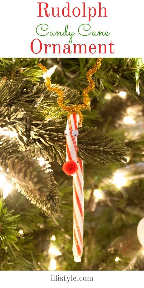 How cute is this Rudolph Candy Cane Ornament? It would be so cute on my tree. - illistyle.com