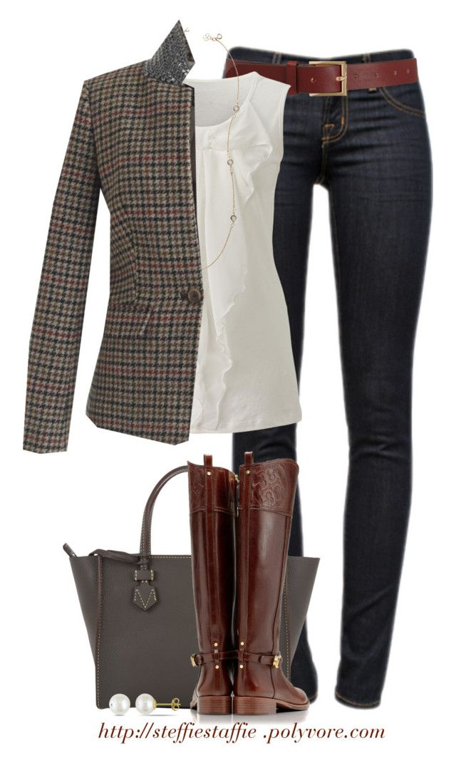 """""""J.crew beaded collar blazer"""" by steffiestaffie ❤ liked on Polyvore featuring J Brand, Barneys New York, Ann Taylor, J.Crew, Moreau, Tory Burch and Miadora"""
