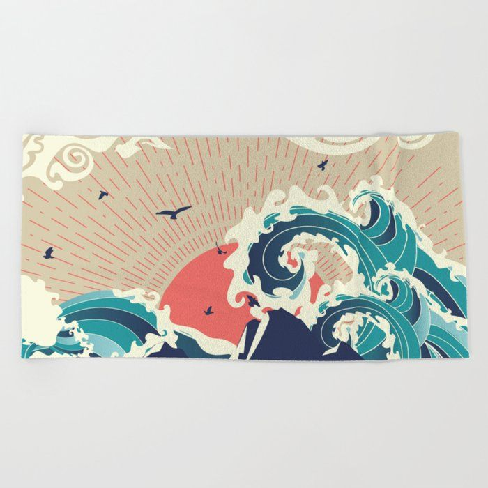 Buy Stylized Big Waves Of Ocean And Island At Sunset Landscape