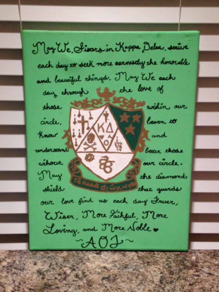 Kappa Delta Creed and Crest canvas