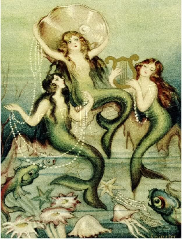 Pretty.Victorian Art, Ocean Beach, Beach Waves, Mermaid Theme, Mermaid Art, Canvas Art, Mermaid Painting, Fantasy Mermaid, Vintage Mermaid