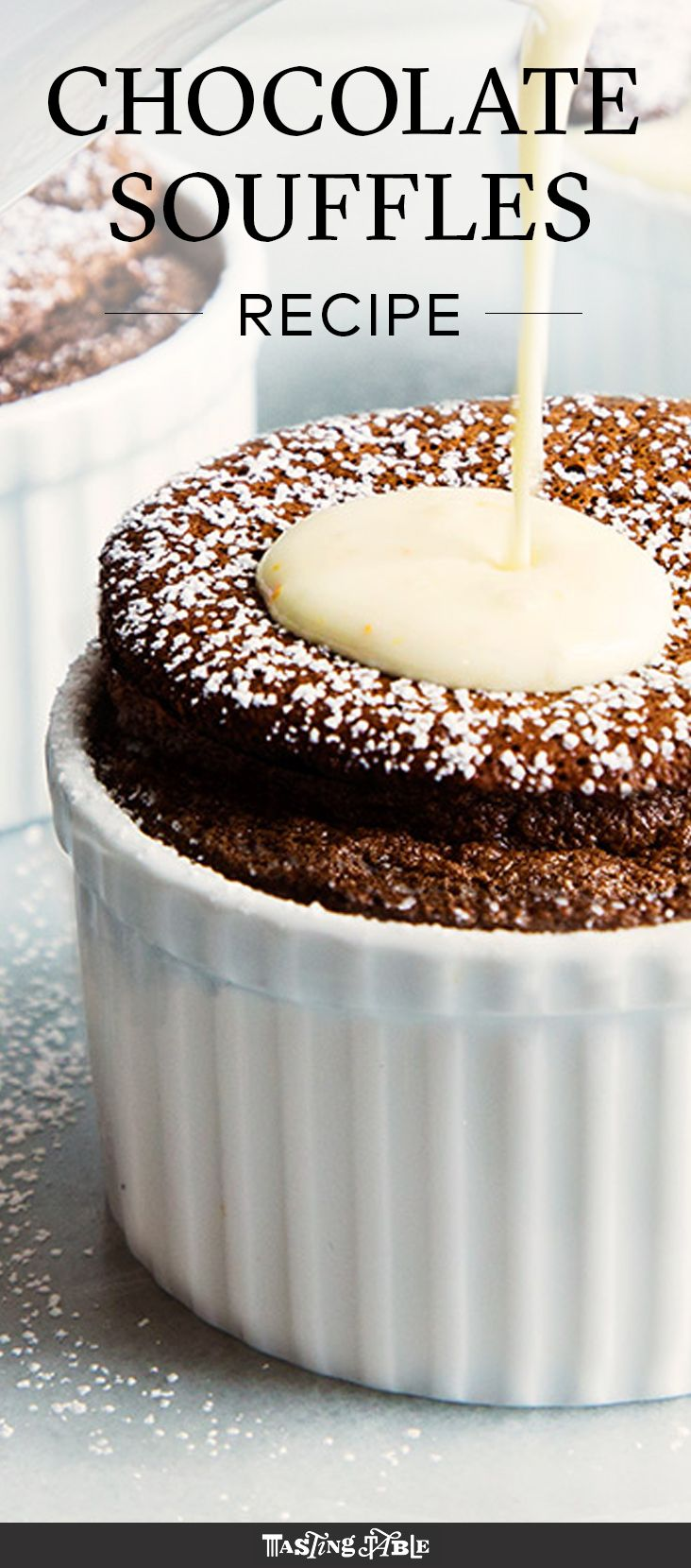 A bright orange sauce covers this rich chocolate soufflé from Jacques Pépin.