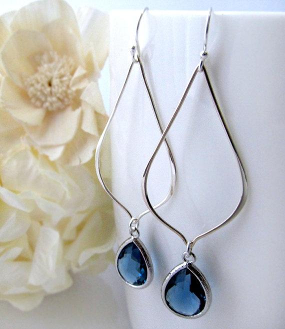 Sterling Blue Sapphire Glass Earrings Long Sterling by ByGerene,