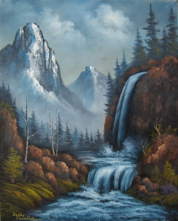 Oil painting of waterfall   Works by Bobby Chandler ...