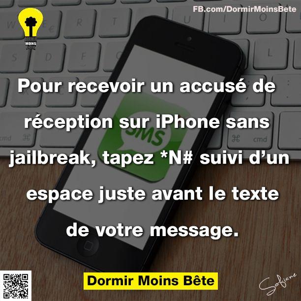Pour recevoir un accusé de réception sur iPhone sans jailbreak, tapez *N# suivi d'un espace juste avant le texte de votre message. BTW, be sure to visit: http://universalthroughput.imobileappsys.com/site2/index.php