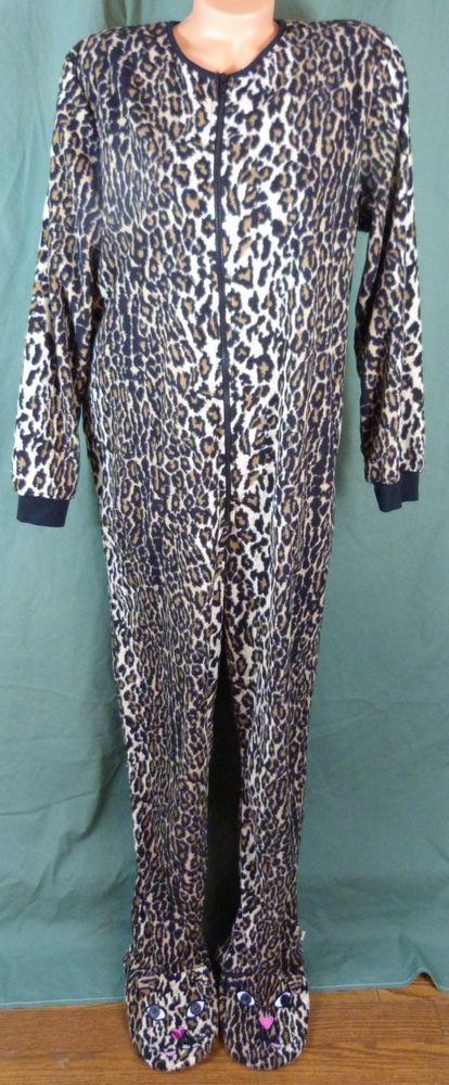 e89a994520 Nick   Nora XL XXL Footed Leopard Cheetah Print 1 Piece Cat Pajamas Adult  Fleece  NickNora  LoungePantsSleepShorts  Everyday