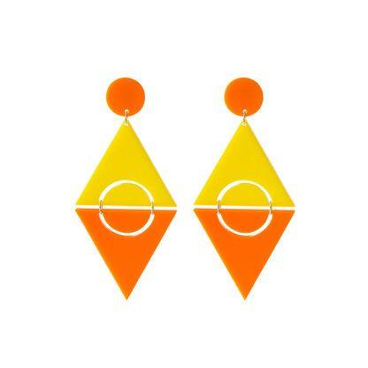 Clip Earrings. Orange and yellow geometric clip on earrings by @KiviMeri