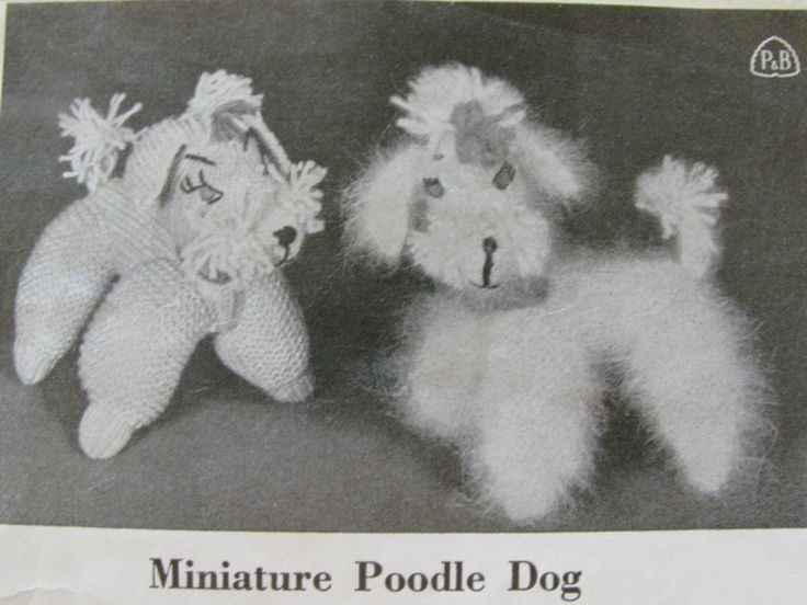 Miniature  Poodle Dog Knitting Pattern PDF Instant Download 1950's 4 Ply Yarn or Fuzzy Wuzzy Angora Shabby Chic French Poodles by TassieVintage on Etsy
