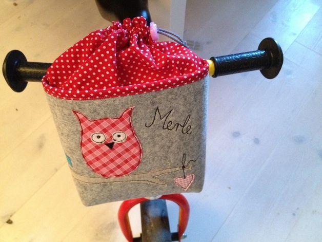 Lenkertaschen - kl. Lenkertasche mit Wunschmotiv u. Namen - ein Designerstück von vonLotte bei DaWanda