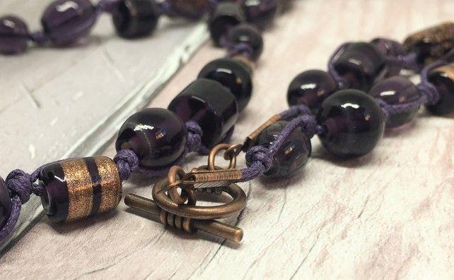 Longer length purple knotted necklace £20.00
