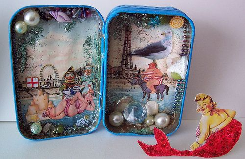 Joseph Cornell Inspired Mini Shadow box   Altered Altoid Tin. whimsical.open a little box and seeing magical scenery.