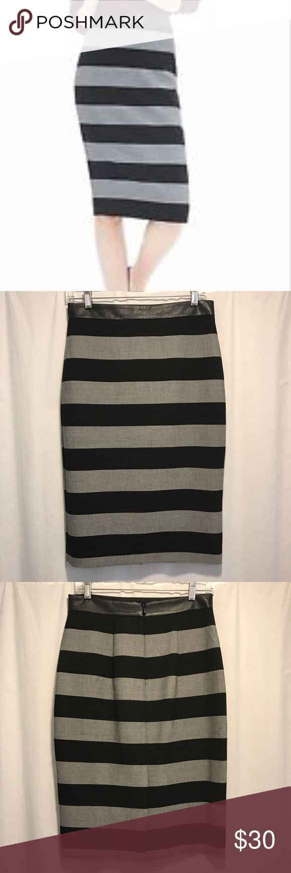 Banana Republic wide stripe pencil skirt Black and grey wide stripe pencil skirt with faux leather waist and concealed back zipper. 64% Polyester, 32% Viscose, 4% Spandex. Worn only twice in excellent condition Banana Republic Skirts Midi