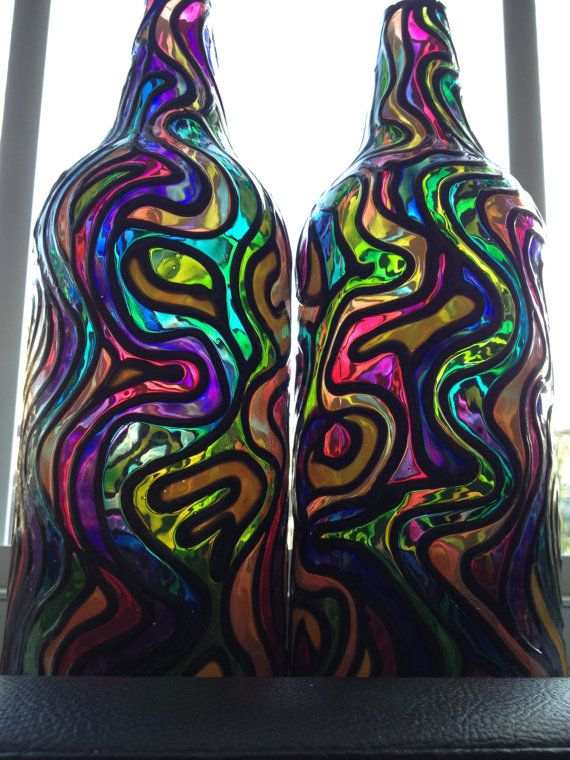 Groovy Bottles stained glass/ hand painted by Glasspaintingsparky, $60.00
