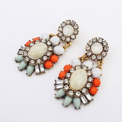 podotukushop_0A5B5D Anting Korea gemstone decorated flower design