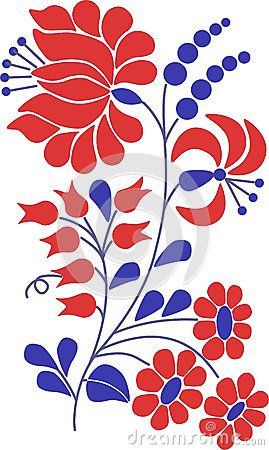 Colorful flourish motif, Hungarian folk motif