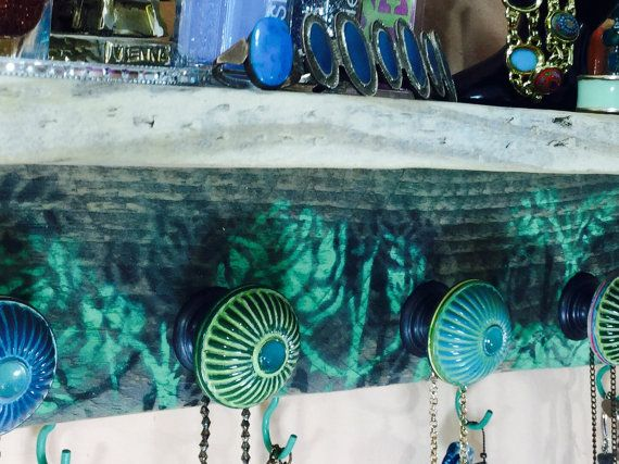 Floating shelves Reclaimed Pallet wood Shelf /necklace holder/ jewelry wall hanging storage shelving stenciled roses 5 knobs 6 teal hooks