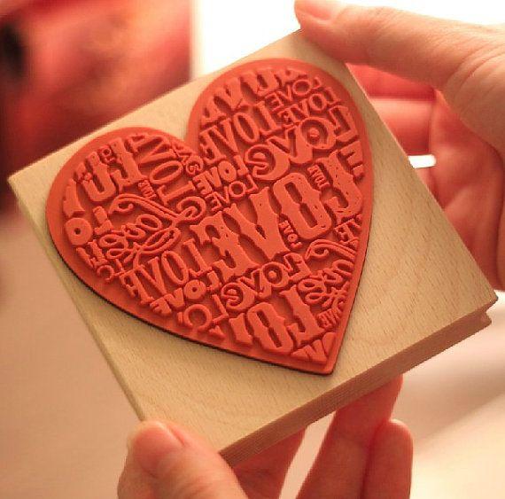 VENTE - Super taille Love Heart Stamp Diary Stamp, Rubber Stamp, bois timbre, Filofax - 1 pcs