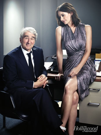 'The Newsroom': Exclusive Photos of Aaron Sorkin and the HBO Cast: Sam Waterston and Emily Mortimer