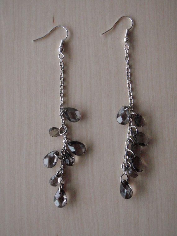Smokey dangling earrings by RosemarysJewellery on Etsy