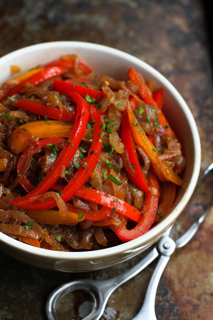 Balsamic Peppers and Onions…Serve these on top of grilled sausages, chicken or fish. Tons of flavor in just a forkful! 94 calories and 1 Weight Watchers SmartPoints