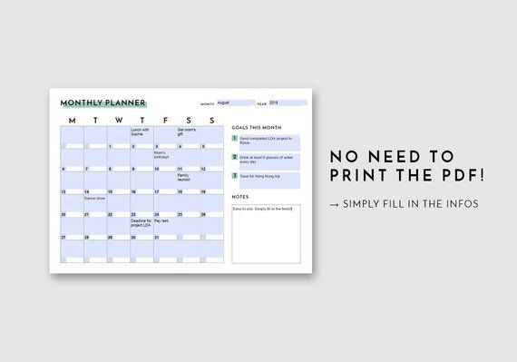 Monthly Planner Printable PDF Monthly Calendar Printable Free