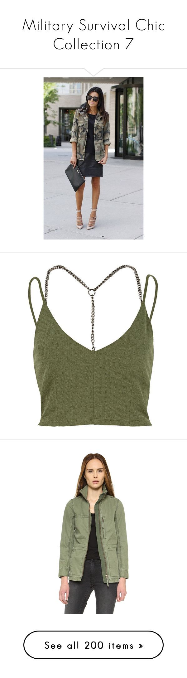 """""""Military Survival Chic Collection 7"""" by liddy-white ❤ liked on Polyvore featuring animal print, tops, crop tops, shirts, tank tops, khaki, cami crop top, strap crop top, green shirt and cami top"""