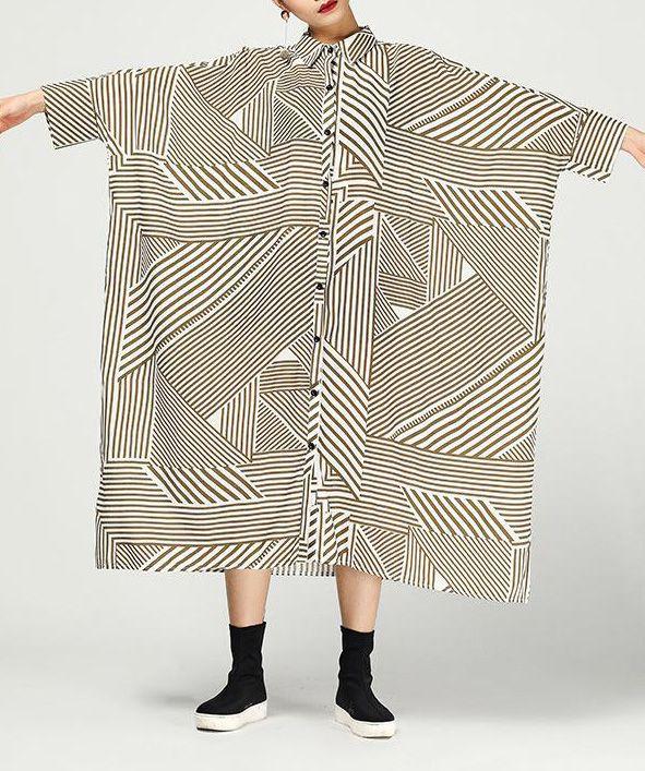 Women linen clothes Fitted Print Three Quarter Sleeve Retro Irregular Hem Dress