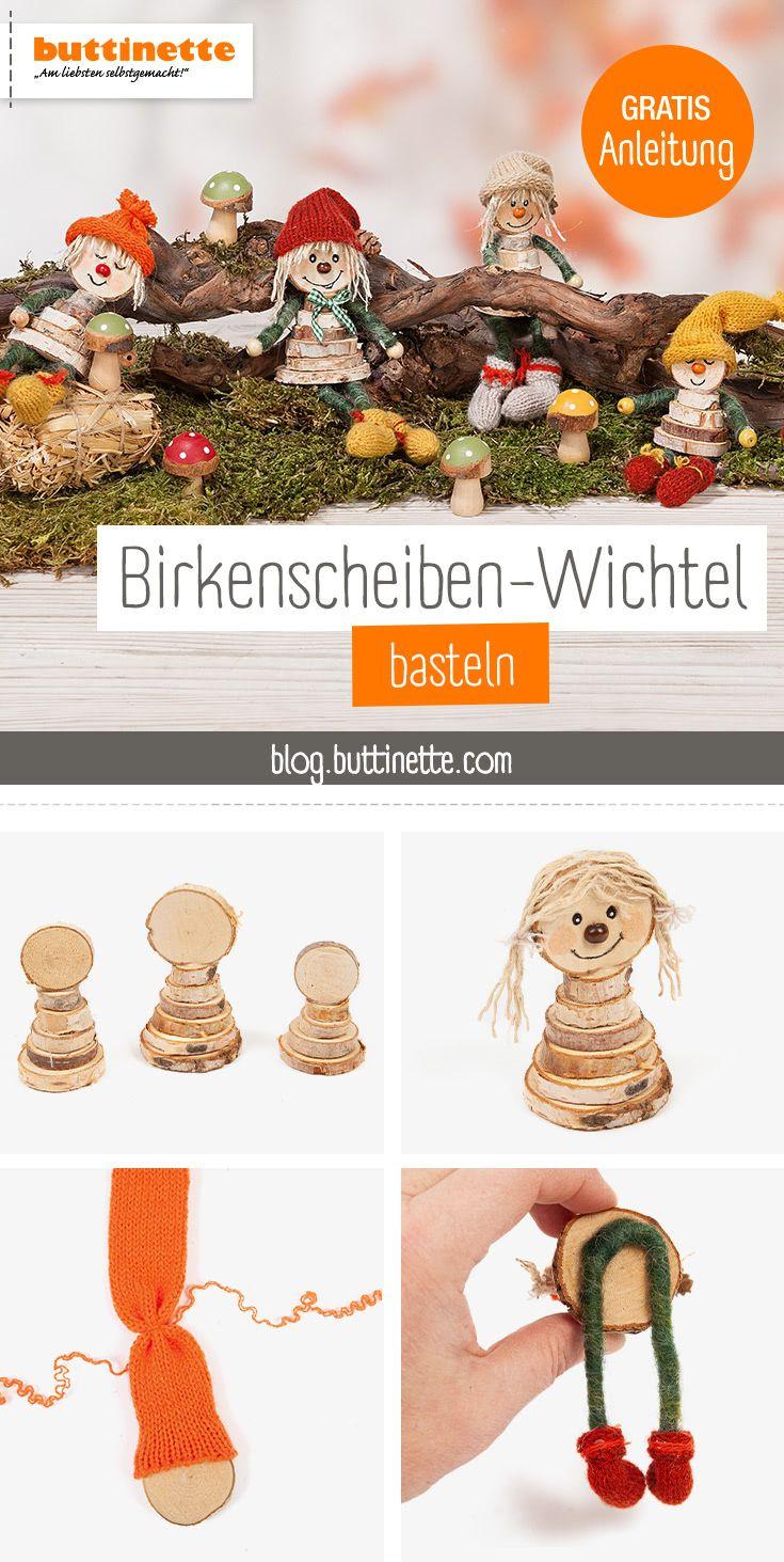 DIY-Herbstdeko: Wichtel aus Birkenscheiben basteln