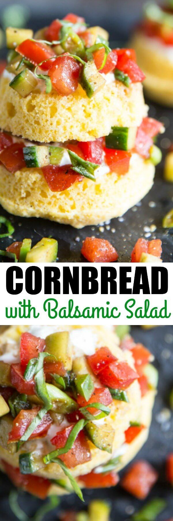 Savory cornbread cakes layered with sour cream and…