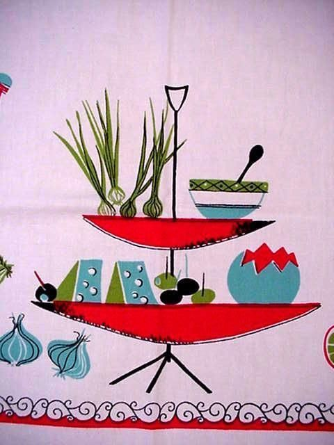Vintage 50's Large MIDCENTURY Tablecloth RED AQUA Colors MODERN Graphic SO FAB!