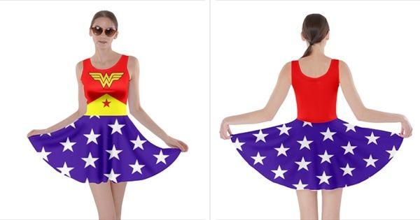 Cowcow Wonder Woman Skater Dress, Size 3X