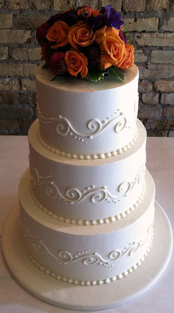 Scrolls Fresh Flowers Wedding Cake