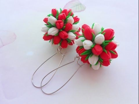 Серьги-шары с Тюльпанами из полимерной глины