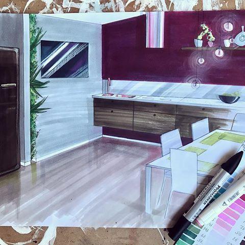 Моя картонная кухня с супер винной стеной,и без #smeg никуда☺️А,да,и медная мойка))))#interiordesign #interiorsketch #interiorsketching  #odessa #artspace #artwork #artist #art #process_of_creativity #painting  #creativity #illustration #armchair #marker #markersketch  #sketching #sketch #blue #illustration #illustrator #marker #promarker #room #brick #sofa #interior #sketchzone #arqsketch #kitchen #kitchendesign