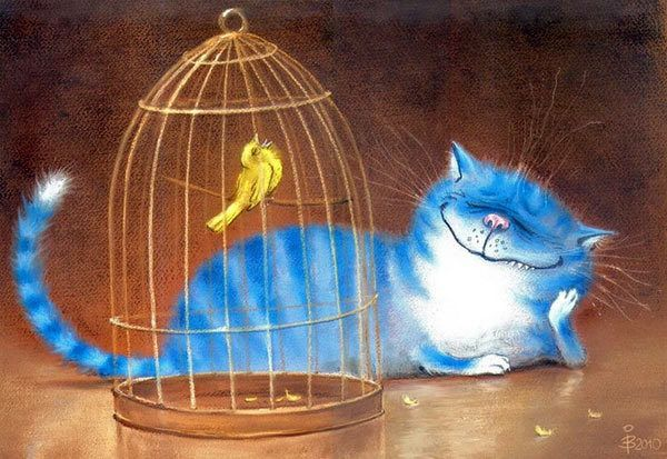 Синие коты художницы Ирины Зенюк (Рины З.) :: Коты и кошки - рисунок, графика, живопись. by Rina Zeniuk
