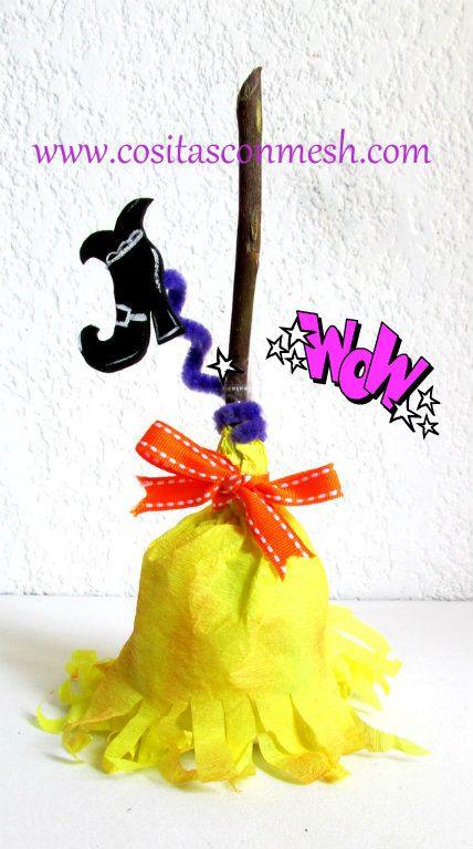 Dulceros para halloween -Escoba de bruja con papel crepe DIY -paso a paso.