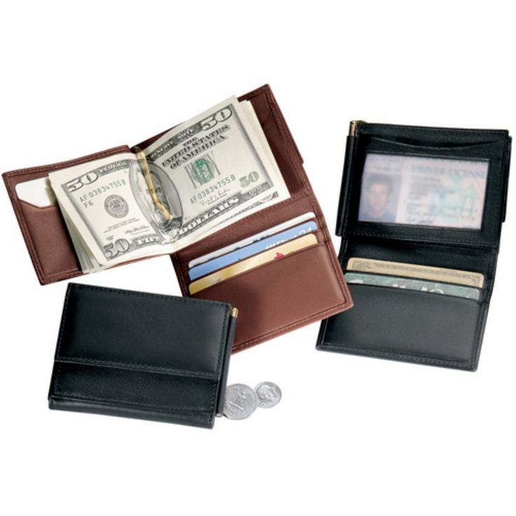 Men's Money Clip Leather Wallet with Optional Monogramming - 114-BLACK-5