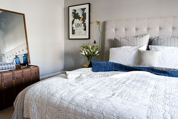 Grey and navy bedroom by josh jenna from the block for The block master bedrooms