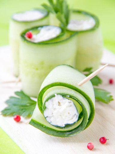 Roulés concombre/ fromage frais ou ail et fines herbes