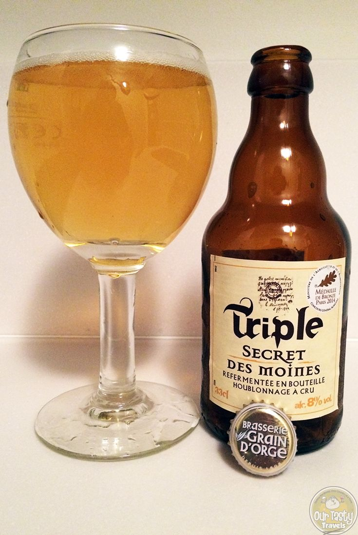 6-Jun-2015 : Triple Secret Des Moines by Brasserie Grain d'Orge of Douai, France. A secret recipe, with a secret spice guarded for centuries. Fruity aroma. A flavor emerging as the beer continues to warm and open in the glass. #ottbeerdiary