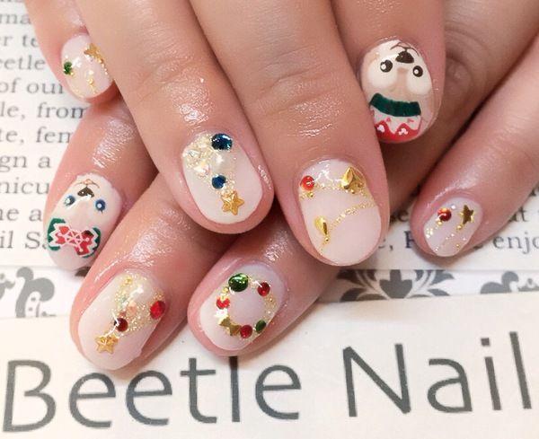 Nail Art - Beetle Nail : 八幡| ダッフィー クリスマスネイル Christmas nail Disney Daffy